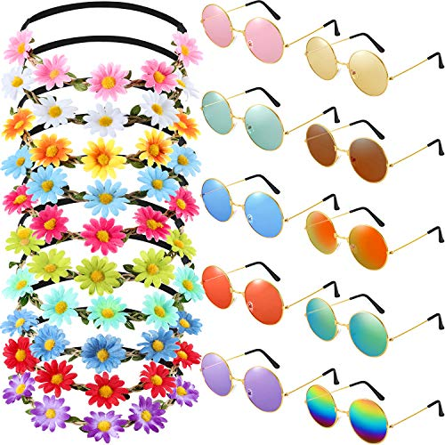 Bememo 20 Pieces Hippie Glasses Headband Costume Set, Includes 10 Pieces Multicolor Girl Lady Daisy...