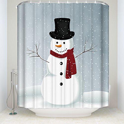 Libaoge Duschvorhang mit Schneemann & Schneeflocken, schimmelfrei, wasserdicht, Stoff 60x72 Snowman 1