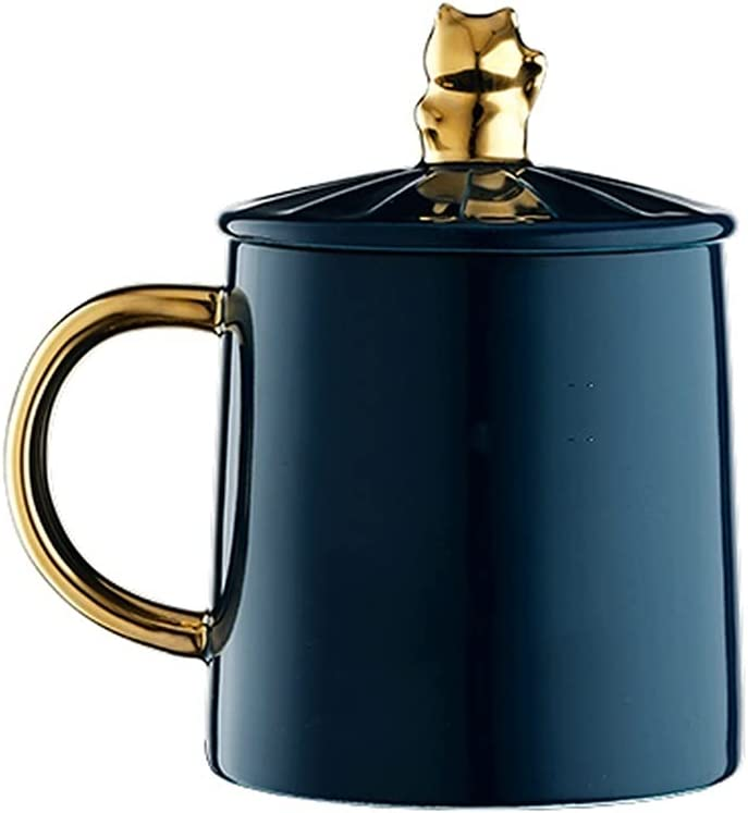 liushop Mugs Blue Ceramic Over item handling 5 ☆ popular Cup Office Home Coffee with Sp Lid