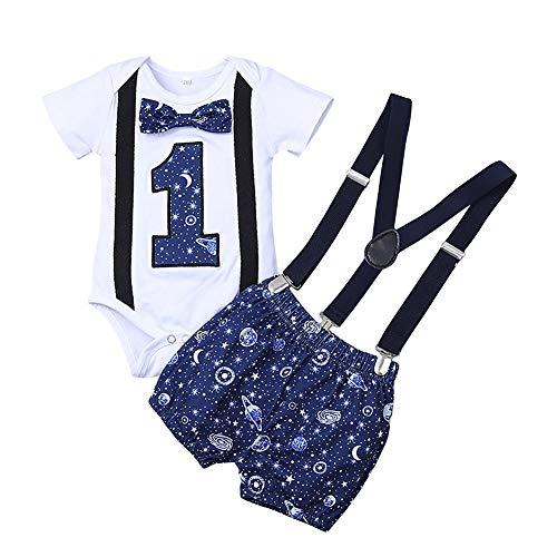 FYMNSI - Conjunto de ropa para beb, nio o primer cumpleaos, diseo de dinosaurios impresos, pajarita de algodn, manga corta, body y con espalda en Y azul oscuro 18-24 Meses