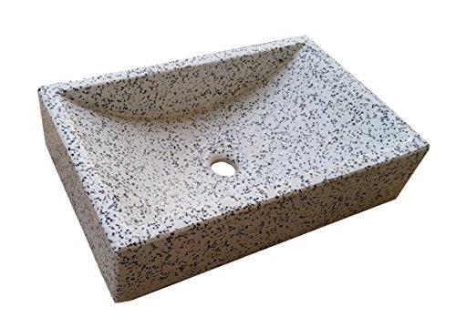 Terrazos Cantalejo Lavabo de Piedra Blanco y Negro - sobre encimera
