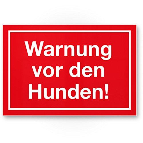 Komma Security Warnung vor Hunden - Hunde Kunststoff Schild Hinweisschild Gartentor Gartenzaun - Türschild Haustüre Warnschild Abschreckung Einbruchschutz - Achtung Vorsicht Hund