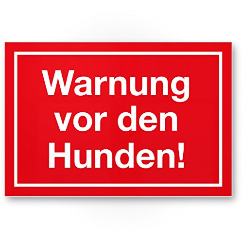 Warnung vor Hunden (rot) - Hunde Kunststoff Schild, Hinweisschild Gartentor/Gartenzaun - Türschild Haustüre, Warnschild Abschreckung/Einbruchschutz - Achtung/Vorsicht Hund