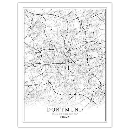 Leinwand Bild,Deutschland Dortmund Stadtplan Wall Art Schwarz Weiss Poster Collage Bilder Minimalistische Malerei Modular Pop Skizze Einfaches Leben Büroflächen Vertikale Personalisierte Dekoration