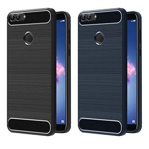 ivoler [2 Unidades] Funda para Huawei P Smart, Diseño de Fibra de Carbon Ultra Fina TPU Silicona Carcasa Fundas Protectora con Shock- Absorción (Negro+Azul)