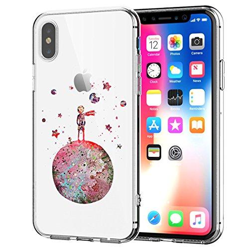 Oihxse Compatibile per Cover iPhone X XS Trasparente Silicone Ultra Slim Custodia Antiurto No-Slip Anti-Graffio Morbido Design Sottile Resistente in Silicone Custodia Protettiva (Earth)