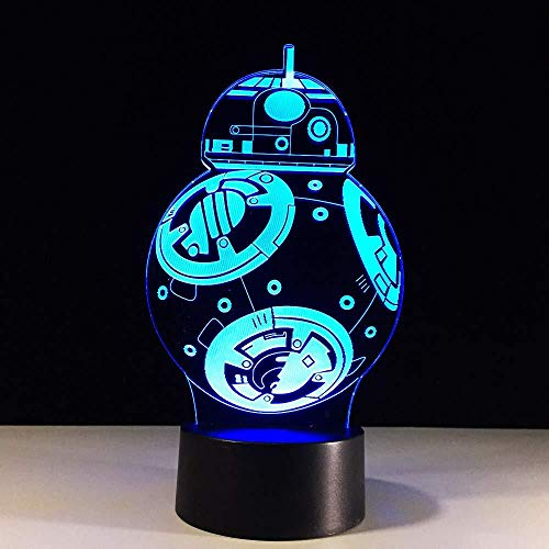 3D Illusion Night Light bluetooth smart Control 7&16M Color Mobile App Led Vision USB Star Wars Bb8 Robot Mood Baby Sleep Kids Bedroom Decor Table Desk Xmas Unique