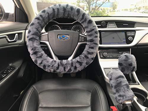가짜 모피 푹신한 레오파드 패턴 자동차 스티어링 휠 커버로 이동 브레이크를 커버에 대한 남성 여성 연약한 반대로-미끄러짐 퍼지 핸들 커버 설정 3PACK