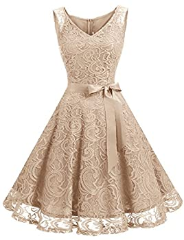 Dressystar 0010 Women Floral Lace Bridesmaid Party Dress Short Prom Dress V Neck Champagne S