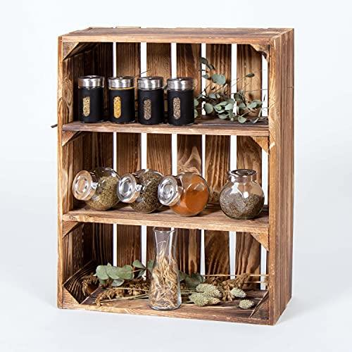 LAUBLUST Regalkiste Vintage - ca. 40x17x50cm, Holz Geflammt - Küchenregal & Gewürzregal Hochformat 2 Regalböden