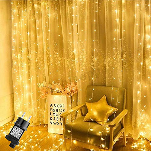 Cortina de Luces LED 2m x 3m, GlobaLink 300 LEDs 8 Modos de Luz, Función de Memoria, IP44 Impermeable, Decoraciónde Navidad, Festival, Fiestas, Boda, Casa, Ventana,Patio,Jardín,Bar,y etc-Blanco Cálido