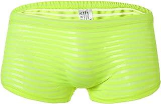 Haozin Men's Underwear, Sexy Transparent See Through Shorts Stripe Boxer Briefs Ultra Thin Underpants