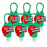 AIRHEADS Hand Sanitizer by FLEX BEAUTY LABS, 1 FL Oz Travel Size Flip-Cap Bottle with Limited Edition Silicone Holder featuring an ICONIC candy brand (Pack of 6) Active Ingredient Alcohol 65% VV