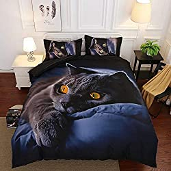 adorable black cat print bedding