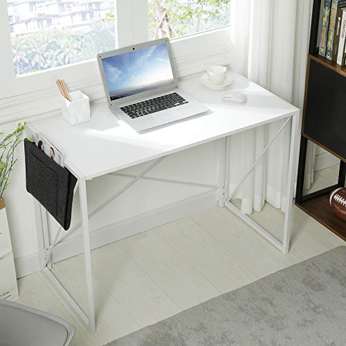 MSmask Schreibtisch Klapptisch Computertisch 101x50x75cm tragbar Konferenztisch Esstisch stabil platzsparend Laptop Tisch Hölzerner Tisch plattenmetallrahmen für Zuhause, Picknick, Garten Weiß