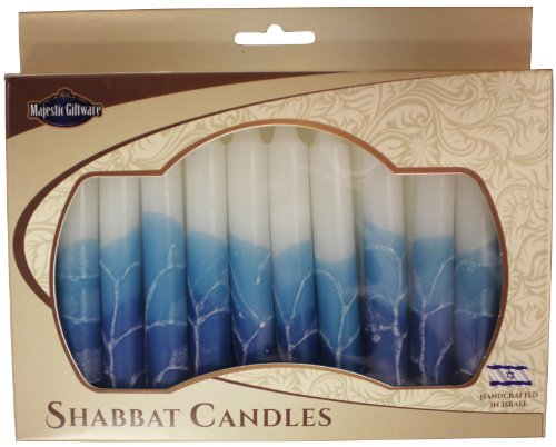 Majestic Giftware 12-Pack Hand Crafted Safed Shabbat Candle, 5 Inch, White Turquoise (SC-SHWT-T)