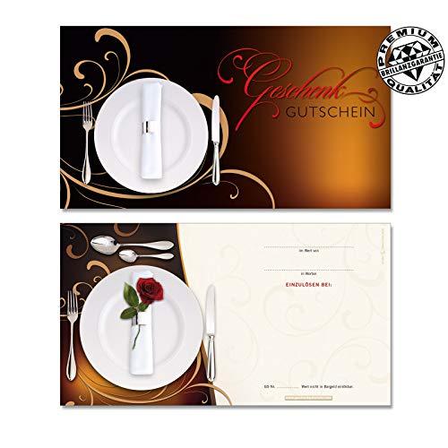 100 Stk. Hochwertige Gutscheinkarten Geschenkgutscheine. Motiv für Restaurants Gasthäuser. Vorderseite hochglänzend. G1289