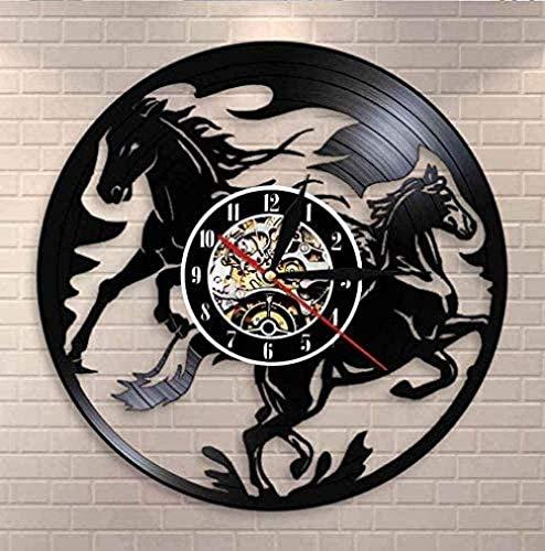 wttian Reloj de Pared de Vinilo Natural Negro, Reloj de Pared de Caballo de Carreras, Accesorios para el hogar para Amantes de los Caballos Mustang