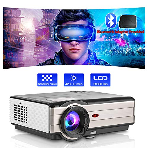 """LED Video Projector 200"""" Large Display 4200 Lumen 1920x1080 Supported,Home Theater Proyector Ideal for Indoor Outdoor Movie Gaming,Compatible with TV Box DVD Player Laptop PS4 USB HDMI AV"""