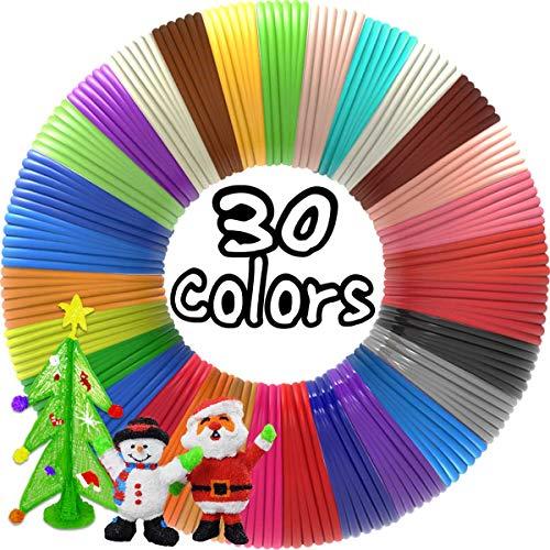 3D Pen Filament Refills 30 Colors, Bonus 250 Stencils eBooks - Dikale 3D Pen Filament 1.75mm,Non-Toxic, Smooth Printing Refills
