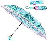 Lilly Pulitzer Women's Travel Umbrella with Automatic Open/Close and Storage Sleeve, Aqua La