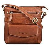 ROYALZ Vintage Herren Umhängetasche Leder klein kompakte Schultertasche Mini Massenger Bag Ledertasche zum Umhängen, Farbe:Texas Braun