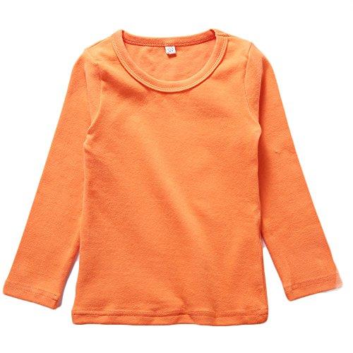 BINIDUCKLING Enfants T-Shirt à Manches Longues Garçon Fille Le sous-Pull en Jersey Uni Fines Côtes Orange 4-5 Ans