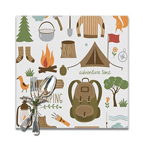 Strawberryran Matériel de Camping d'aventure Sac de Couchage Bottes Feu de Camp Pelle Hachette Journal Oeuvre d'art Imprimer 12 X 18 en Ensemble de 4