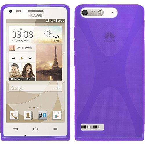 PhoneNatic Case kompatibel mit Huawei Ascend P7 Mini - lila Silikon Hülle X-Style + 2 Schutzfolien