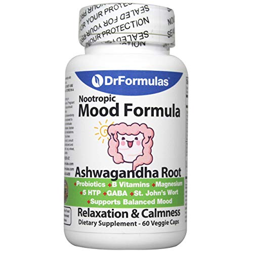 DrFormulas Mood Boost Probiotics with Stress B Complex Vitamins for Kids, Women, Men | Nexabiotic Supplement with Ashwagandha Capsules, St Johns Wort, GABA, Magnesium for Calm & Anxiety, 60 Count