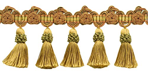 Best Buy! DÉCOPRO 5 Yard Package of 3.75 Inch Copper, Gold, Green Tassel Fringe Trim with Rosettes|Style# TFAX0375 (21765)|Color: Pumpkin Patch – LX05 (15 Ft / 4.6 Meters)
