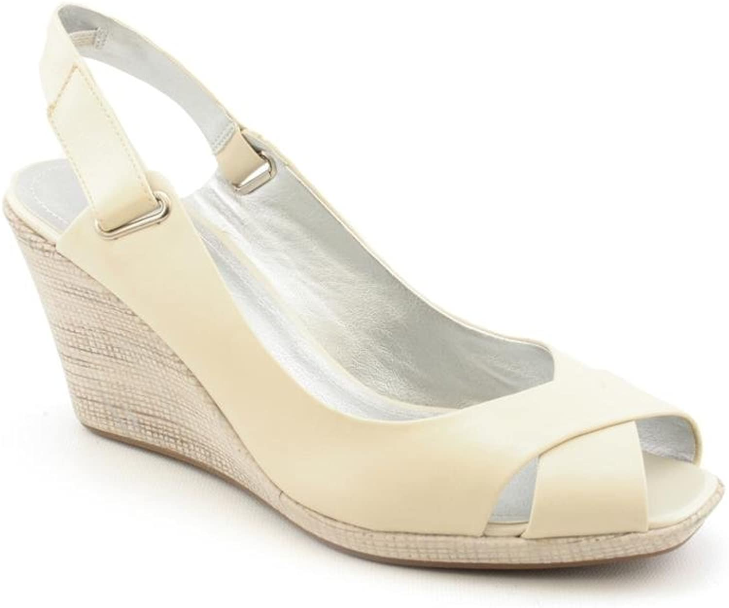 Kenneth Cole Reaction Women's Let It Knock Leather Wedge Ivory 9.5 M US