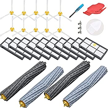 LOVECO Replacement Accessory Kit for iRobot Roomba 800 Series 850 860 861 866 870 880 890 900 Series 960 980 981 985,10 Filter,10 Side Brush,2 Tangle-Free Debris Extractor,1 Brush Cleaning Tool