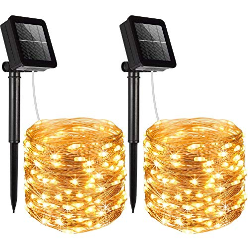Betop-Camp Solar String Lights, 100 LED 8 Modes Solar Powered Lights, 33ft/10m Waterproof Decorative Lighting for Home, Tree, Party, Garden(Warm White-Pack of 2)