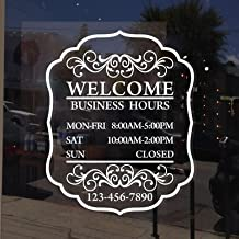 Maribeatty Custom Business Hours Window Decal Store Hours Sign Sticker White Vinyl Lettering Decor