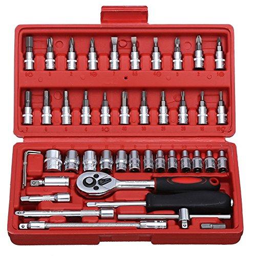 SISHUINIANHUA 46 Teile/Satz Auto Reparaturwerkzeuge Sockel Set 1/4 '' Drive Ratsche Schraubenschlüsselschlüssel Schraubendrehe Hex Kits Haushaltskombination