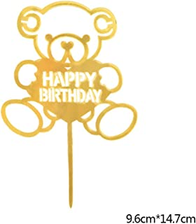 Huanxidp 1pc Happy Birthday Cake Topper Golden Black Acrylic Wedding Cakes Ornament Kids Birthday Party Deco Supplies DIY ...