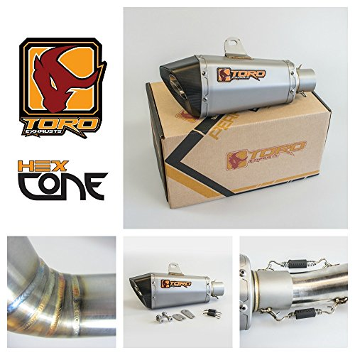 Toro Exhausts T1-HXC-0104-KTM-01 T1 Hex Cone - Kit de escape para motocicleta KTM Duke 125/200/390 2011-2016, acero inoxidable