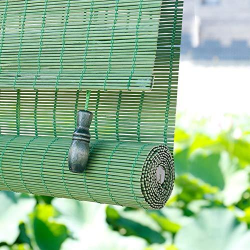 HH- Persianas de bambú Exterior Gazebo Roll Up Window Blind Sun Shade, Light Filtering Bamboo Roller Shades Wide 60/80/90/100/120 cm - Verde (Size : W 60×H 70cm)