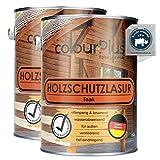 colourPlus® Barniz de alta protección (2x2,5L, Teca) Barniz satinado para madera, exteriores - Base para madera - Pintura de madera para exterior