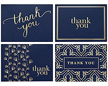 100 Thank You Cards Bulk - Thank You Notes Navy Blue & Gold - Blank Note Cards with Envelopes - Perfect for Business Wedding Gift Cards Graduation Baby Shower Funeral - 4x6 Photo Size