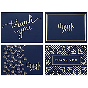 100 Thank You Cards Bulk – Thank You Notes, Navy Blue & Gold – Blank Note Cards with Envelopes – Perfect for Business, Wedding, Gift Cards, Graduation, Baby Shower, Funeral – 4×6 Photo Size