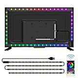 TV LED Backlights, CT CAPETRONIX 9.84ft/3M USB RGB Strip Lights Kit with 3M Tape, 5050 Leds Lighting Music Sync Color Changing with Manual or APP Control for iOS Android for TV Sizes 32 inch and Above
