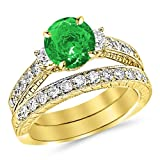 3.03 Carat 14K Yellow Gold Three Stone Vintage With Milgrain & Filigree Bridal Set with Wedding Band & Diamond Engagement Ring with a 2 Carat Natural Emerald Center (Heirloom Quality)