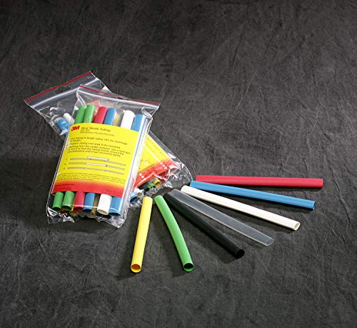 "3M FP-301 Heat Shrink Tubing Assortment Pack 1/8"" x 6"" Length Pieces, 4 each of 7 colors, 28 Total"