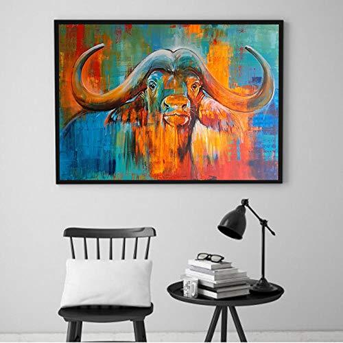 nobrand canvas schilderij kleurrijke buffel wandafbeeldingen voor de woonkamer dierenkunst canvas kunst prints poster decoratie 50X75cm_unframed