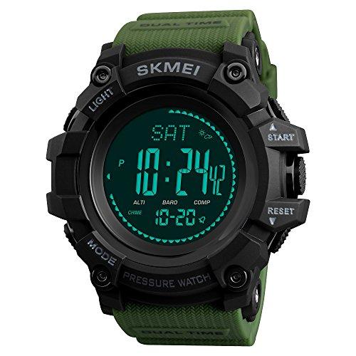 TONSHEN Herrenuhr Outdoor Sport Militär Digital Kompass Uhren Multifunktional Höhenmesser Thermometer Schrittzähler LED Double Zeit Plastik Armbanduhr (Grün)