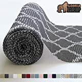 Gorilla Grip Original Drawer and Shelf Liner, Non-Adhesive, Size, 17.5 Inch x 20 FT, Durable and Strong, Grip Liners for Drawers, Shelves, Cabinets, Storage, Kitchen and Desk, Quatrefoil Gray White