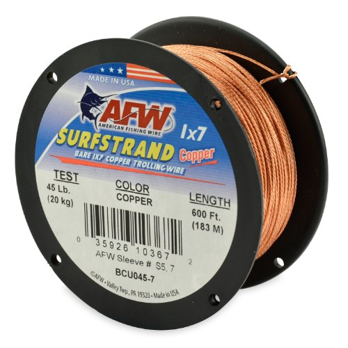 American Fishing Wire Surfstrand Copper 1x7 Bare Trolling Wire, Copper Color, 30 Pound Test, 600-Feet