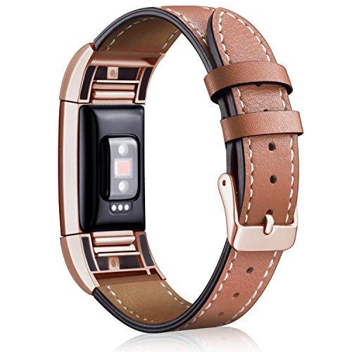 Mornex-Band kompatibel Fitbit Charge 2 Band Lederband, klassisch verstellbares Ersatz-Armband Fitness Zubehör Metallverbinder, Herren, 07-Rose Gold & Classic Brown, 5.5\'\'-8.1\'\'